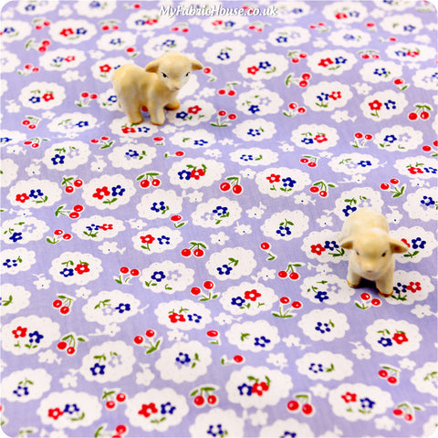 Buy cotton fabric - purple Flowers Fat Quarter FQ £2.99 | My Fabric House