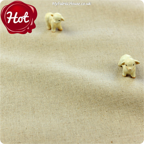 Tan plain distressed linen fabric W:134cm FQ1405-26
