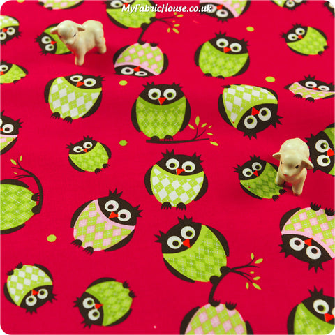 Buy cotton fabric - red Owls Fat Quarter FQ £2.99 | My Fabric House