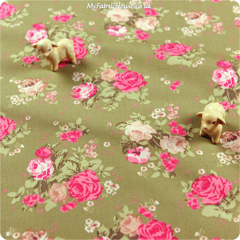 Buy cotton fabric - green Flowers Fat Quarter FQ £3.25 | My Fabric House