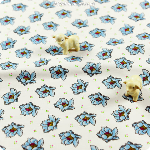 Buy cotton fabric - blue Flowers Fat Quarter FQ £2.99 | My Fabric House