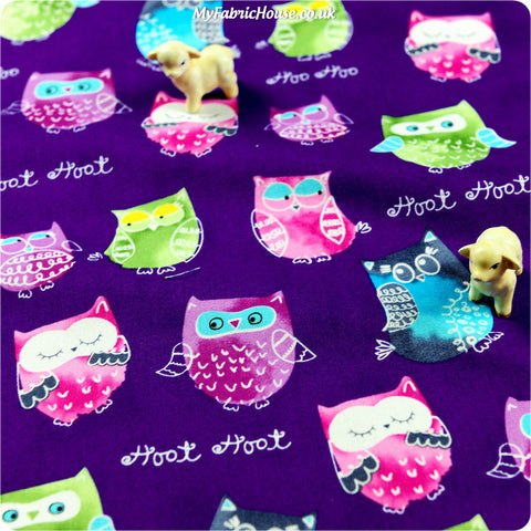 Owls - purple owls motifs cotton fabric W:105cm FQ1406-04