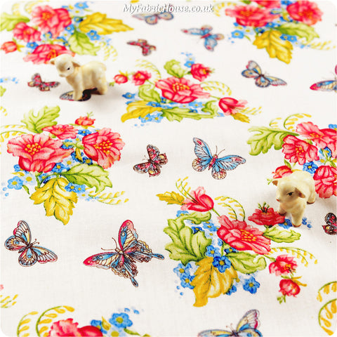 Buy cotton fabric - white Butterfly Fat Quarter FQ £2.99 | My Fabric House