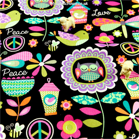 Buy cotton fabric - black Owls Fat Quarter FQ £3.49 | My Fabric House