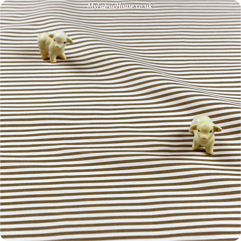Stripe - brown & white 3mm spotty cotton fabric W:100cm FQ1406-17