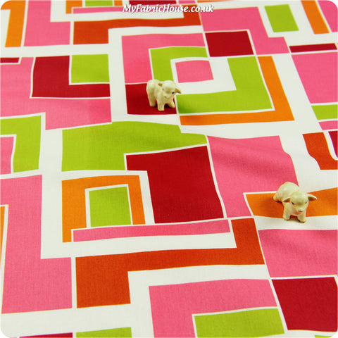 Buy cotton fabric - pink Retro Fat Quarter FQ £2.99 | My Fabric House