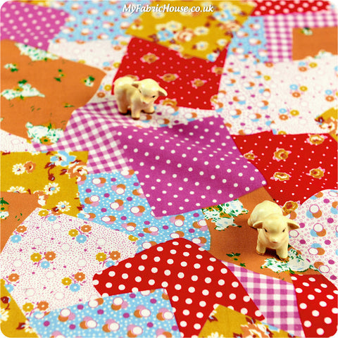 Buy cotton fabric - multicolour Patchwork Fat Quarter FQ £3.49 | My Fabric House