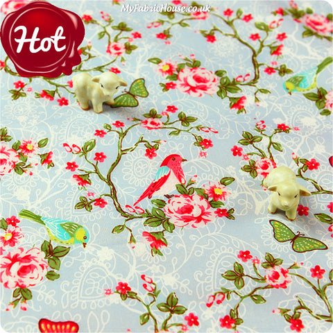[SALE] Birds - blue & pink roses & branches cotton fabric FQ1406-48