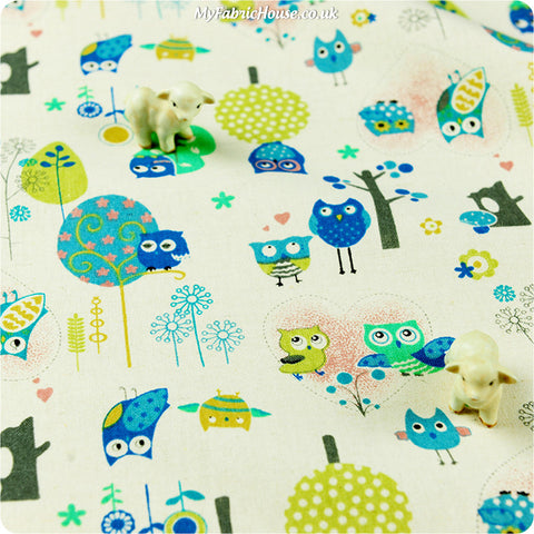 Buy cotton fabric - blue Owls Fat Quarter FQ £3.99 | My Fabric House