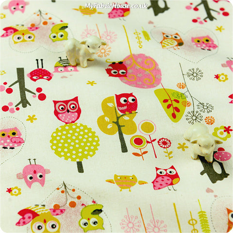 Buy cotton fabric - pink Owls Fat Quarter FQ £3.99 | My Fabric House