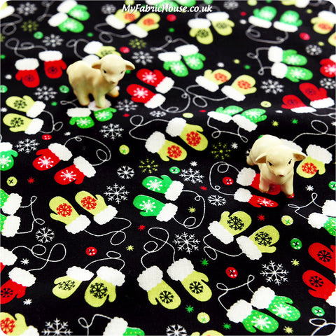 Buy cotton fabric - black Christmas Fat Quarter FQ £2.99 | My Fabric House