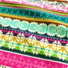 [SALE] Flowers - multicoloured Persian ethnic floral stripes cotton fabric W:108cm FQ1410-16
