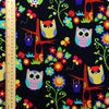 Owls - blue navy multicoloured flowers & bird houses cotton fabric FQ1410-25