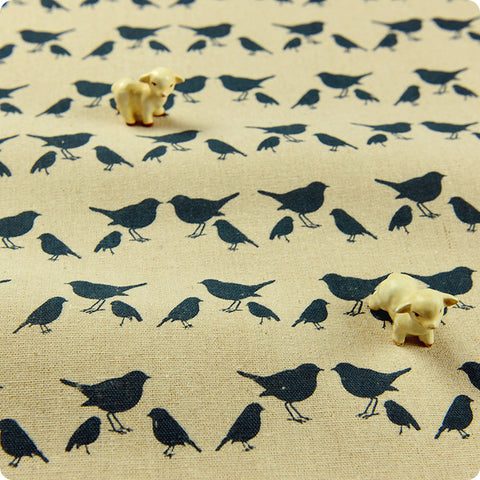 [SALE] Birds - blue navy natural hessian linen fabric W:100cm FQ1411-20
