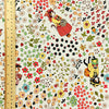 Pets - multicoloured quirky cats & flowers linen fabric W:150cm FQ1501-03