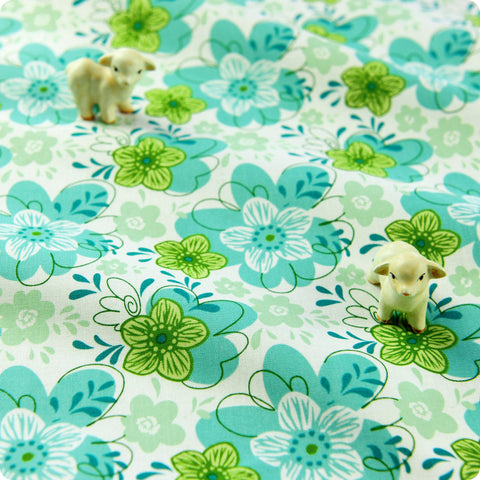 Bold floral - green & blue flowers cotton fabric W:110cm FQ1504-08