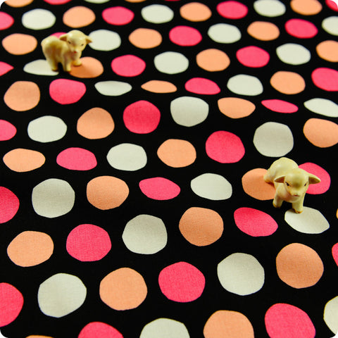 [SALE] Polka dots - pink white & black 25mm spotty cotton fabric W:108cm FQ1505-22