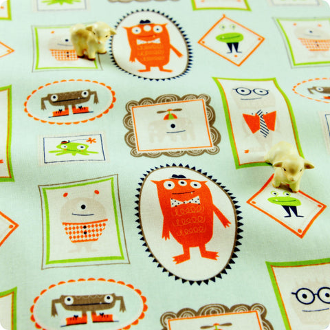 [SALE] Blue & orange monster cotton fabric FQ1505-26