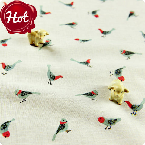 Birds - white cotton fabric FQ1505-28