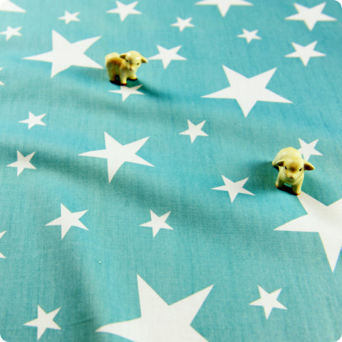 Stars - blue aqua & white cotton fabric W:160cm FQ1505-34