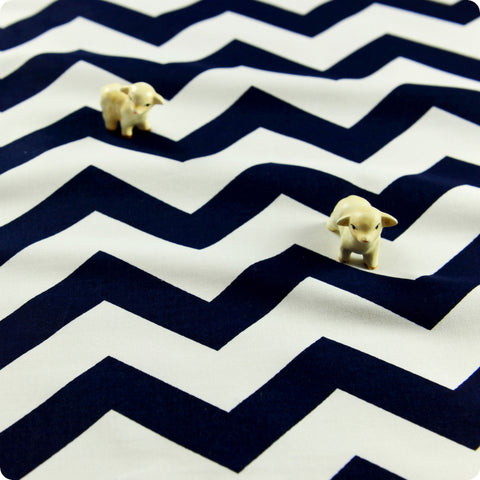 Chevron - blue navy & white 21mm stripes cotton fabric W:160cm FQ1505-37