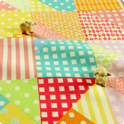 Patchwork - pastel multicoloured linen fabric FQ1505-41
