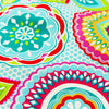 Bold floral - blue aqua multicoloured round flowers cotton fabric W:108cm FQ1505-44