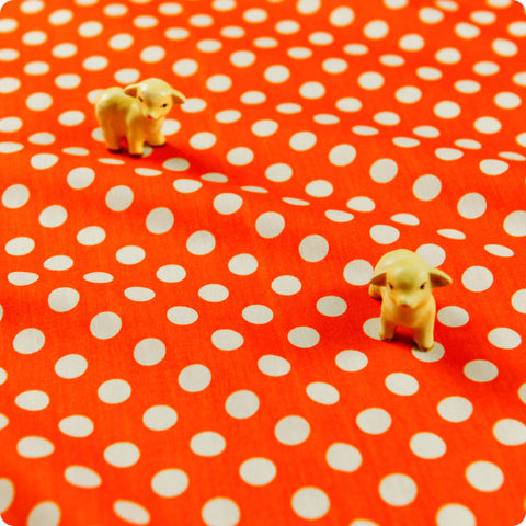 Polka dots - orange carrot & white 10mm spotty cotton fabric W:100cm FQ1506-03