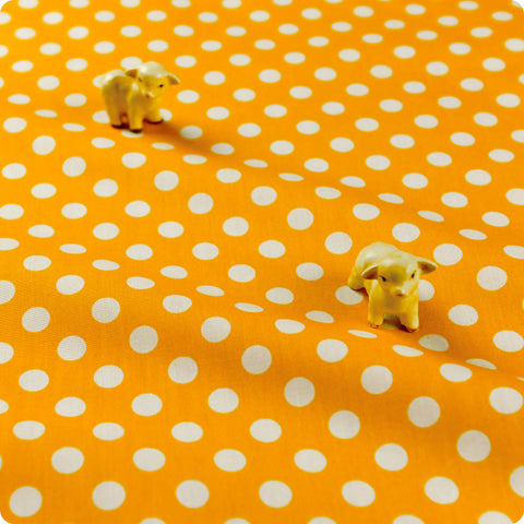 Polka dots - orange apricot & white 10mm spotty cotton fabric W:100cm FQ1506-04
