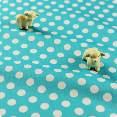 Polka dots - blue aqua & white 10mm spotty cotton fabric W:100cm FQ1506-05