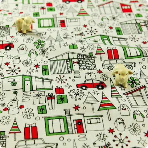 Christmas - white winter village cotton fabric FQ1506-13