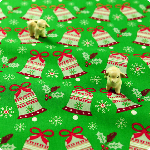 [SALE] *BULK BUY* Christmas - green Xmas bells & snowflakes cotton fabric W:108cm FQ1506-14