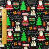 Christmas - black glitter santa & snowman cotton fabric FQ1506-16