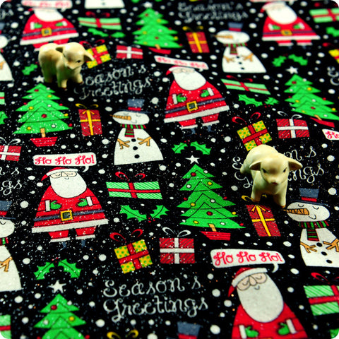 Christmas - black glitter santa & snowman cotton fabric W:109cm FQ1506-16