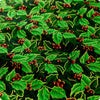 [SALE] Christmas - green & gold metallic holly berry & leaf cotton fabric W:108cm FQ1506-17