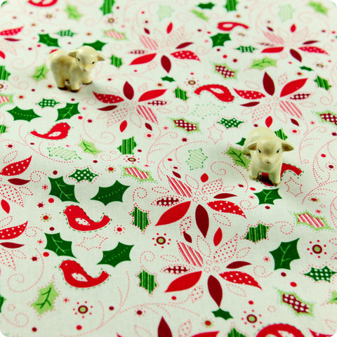 [SALE] Christmas - white & red birds poinsettia & holly leaf cotton fabric W:108cm FQ1506-19
