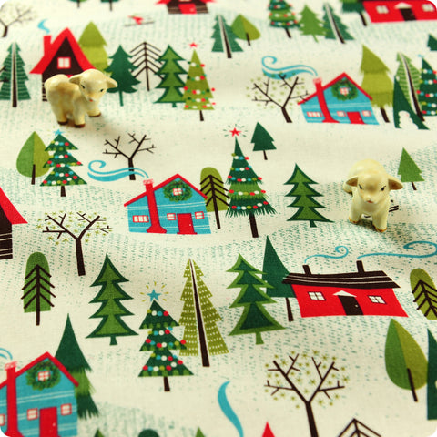Christmas - white & green snowy village cotton fabric FQ1506-20