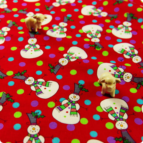 Christmas - red snowman & Xmas lights cotton fabric W:110cm FQ1506-25