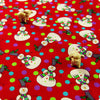 [SALE] Christmas - red snowman & Xmas lights cotton fabric W:110cm FQ1506-25