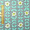 Flowers - blue & grey large retro angular floral cotton fabric W:160cm FQ1512-05