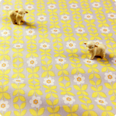 Flowers - yellow & grey small retro angular floral cotton fabric