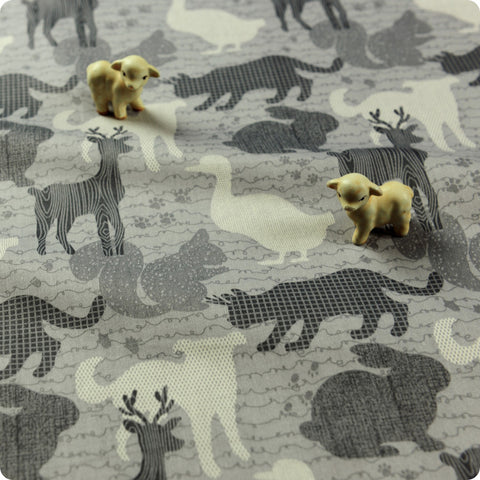 Zoo - grey animals silhouette camouflage cotton fabric FQ1512-11