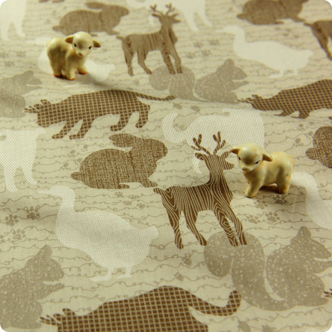 Zoo - beige animals silhouette camouflage cotton fabric FQ1512-12
