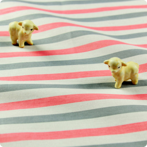 Stripe - pink & grey 10mm stripes cotton fabric W:160cm FQ1512-23