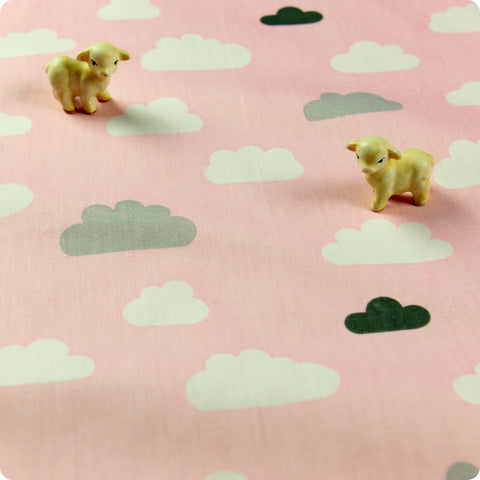 Weather - pink & grey clouds cotton fabric W:160cm FQ1512-24