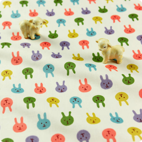Woodland - white multicoloured petite rabbit motifs cotton fabric W:160cm FQ1512-26