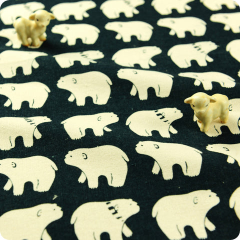 Zoo - blue & white polar bears hessian linen fabric FQ1602-04
