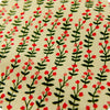 Flowers - green & pink retro floral stems natural hessian linen fabric