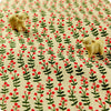 Flowers - green & pink retro floral stems natural hessian linen fabric FQ1602-14
