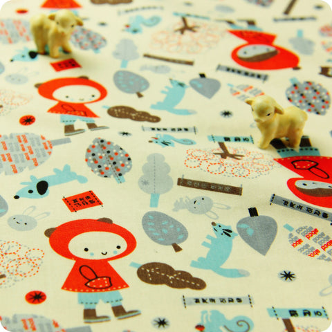 Woodland - white Little Red Riding Hood cotton fabric